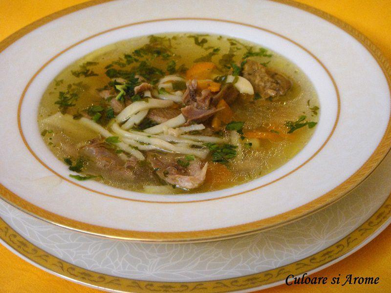 Supa de rata cu taitei de casa