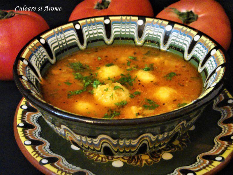 Supa de rosii cu galuste de malai